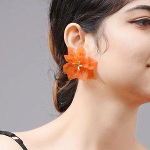 Jewelry - Orange Flower Earrings
